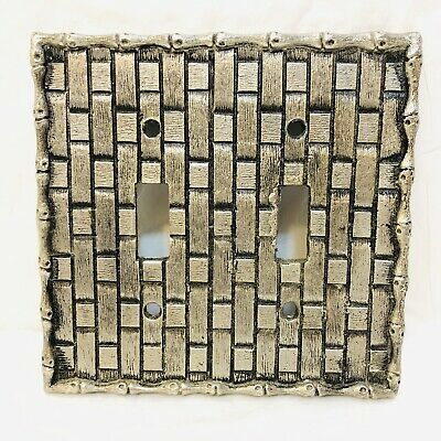 Vintage Hanna Silver MCM Light Switch Plate Cover 1 Double Bamboo Woven Pattern