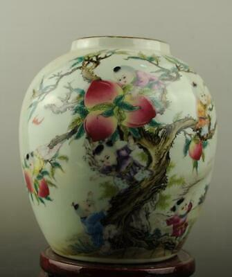 china old hand-made famille rose Porcelain  child and peach pattern pot c01