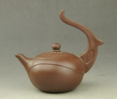 Chinese old Yixing purple sands hand-carved long handle teapot b02
