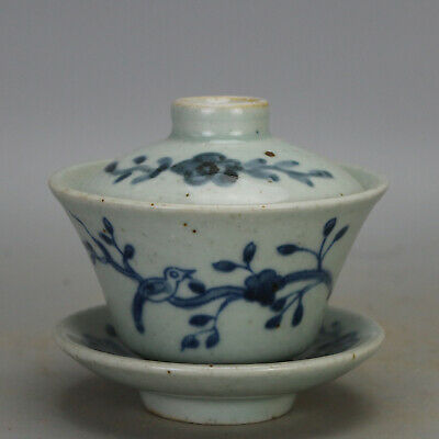 Chinese old  Blue & white porcelain bird & flower pattern Tea Brew Cup c01
