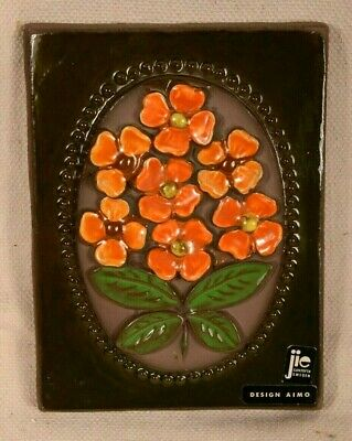 JIE GANTOFTA Sweden Ceramic Art Tile Wall Plaque Signed Orange Flowers