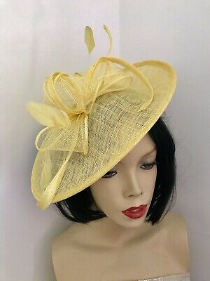 Yellow Lemon Hatinator Wedding Fascinator Saucer Hat Formal Pastel Races Disc