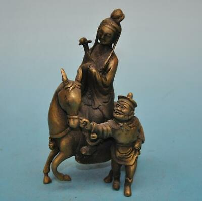 chinese old fengshui copper hand-carved Wang Zhaojun ride horse statu e01