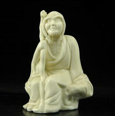 chinese old Dehua white porcelain carved long eyebrows arhat Buddha statue b02
