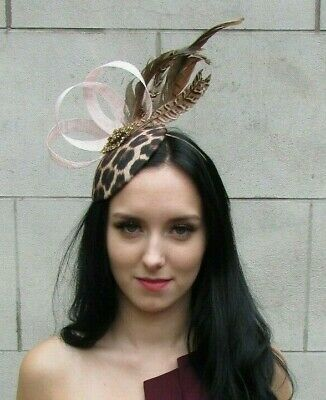 Blush Light Pink Leopard Animal Print Pheasant Feather Hat Fascinator Races 7375