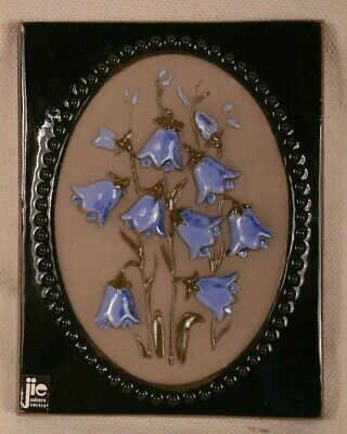 JIE GANTOFTA Sweden Ceramic Art Tile Wall Plaque Signed Blue Flowers
