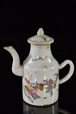 Antique Chinese Multicolored Porcelain Teapot / Wine Pot, Qing Dynasty, 19th c