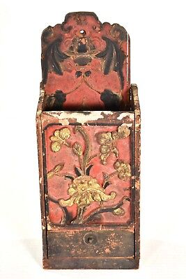 Antique Chinese Red & Gilt Carved Wooden Hanged Vase / Mail Box w Drawer, 19th c