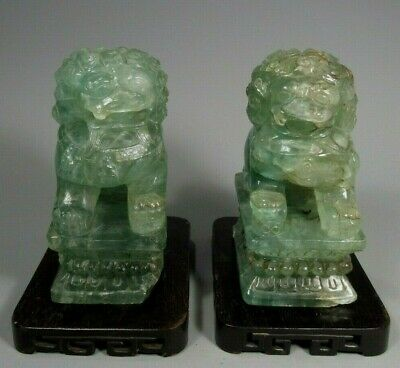 Very Fine Pair of China Chinese Green Fluorite Foo Lions Qing Dynasty Ca. 1900