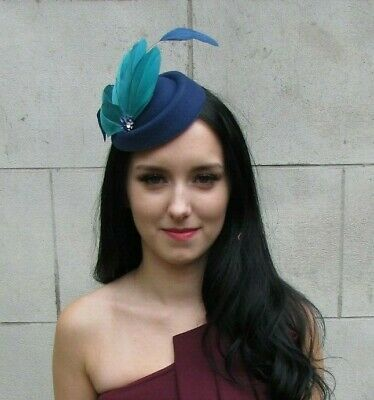 Navy Blue Teal Turquoise Feather Pillbox Hat Hair Clip Fascinator Races 7380