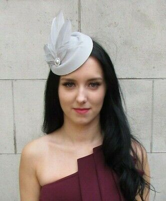 Light Grey Silver Feather Pillbox Hat Hair Fascinator Clip Races Cocktail 7394
