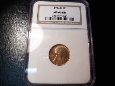 1944-D Ngc Ms66Rd Lincoln Cent ** Gem Brilliant Uncirculated
