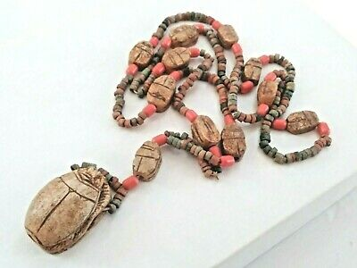 Antique Egyptian Hand Carved Heiroglyphics Stone Scarab Amulet Beaded Necklace