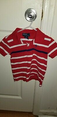 Toddler Boys Ralph Lauren Polo Shirt Red Navy Blue White Striped 18 Month