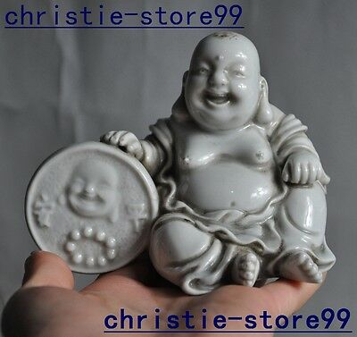 "5"" Old China Chinese Dehua white porcelain 平安 happy laugh Maitreya Buddha statue"