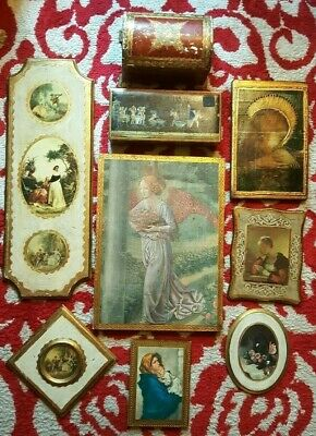 Vintage Assorted FLORENTINE Italy Gilt Gold Wood Tole Mixed Lot 9 Wall Plaques