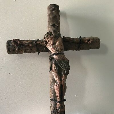 Antique Carved Polychrome 1700s Crucifix Cross 19.5""