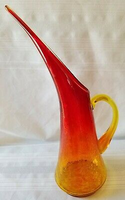 Vintage Art Glass Pitcher Amberina Red Yellow Stretch Crackle Glass 14""
