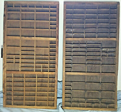 TWO vintage large Shadow Boxes Displays, BOTH 89 SLOTS Letterpress Typeset Trays