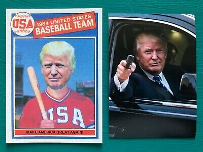DONALD TRUMP 1985 Topps Baseball Card Make America Great Again + BONUS Sticker!!