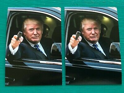 "(2) DONALD TRUMP President In Limo Gun NRA Vinyl Peel Off Stickers 2.25"" x 3.25"""