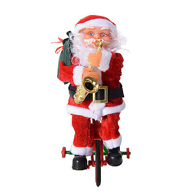Electric Cycle Riding Santa Claus with Saxophone Toy Batteries Not Included