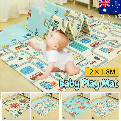 2*1.8m Baby Children Play Mat Infant Foldable Cartoon Babe Carpet Crawling Pad