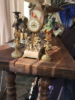 Antique Mantel Clock Onyx Base and 2 Candelabra Set Antique ESTYMA Germany