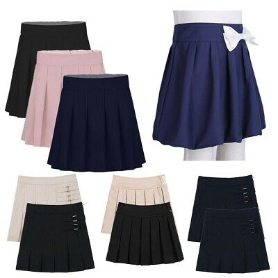 Girls Child Box Pleated Mini Skirt Uniform School Wear Elasticated Skater Skirt