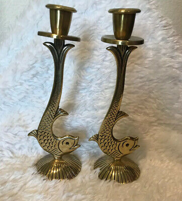 """Chen Beautiful Fish Design Pair of 12"""" Brass Candle Stick Holders Made in Israel"""