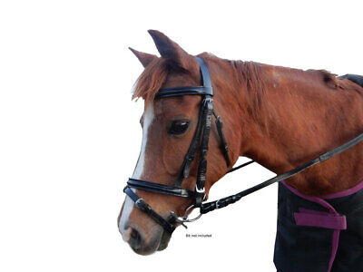 Leather Hannoverian noseband Bridle complete with reins BLACK Pony, Cob, Full