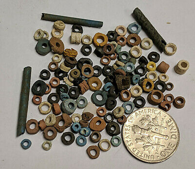 More than a Hundred 2500 Year old Ancient Egyptian Faience Mummy Beads (K5688)