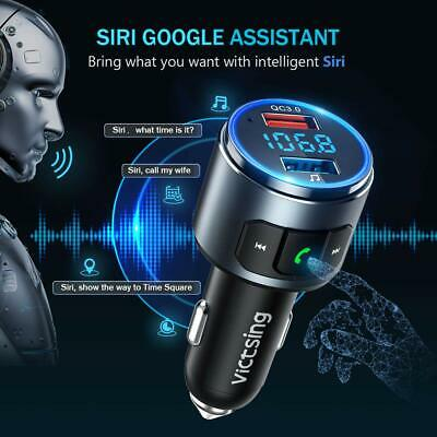 VicTsing Car Bluetooth 5.0 FM Transmitter QC3.0 Charge Siri Radio Music Player