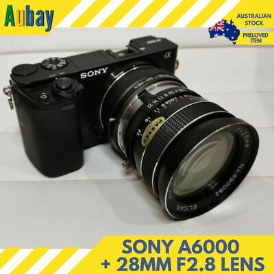 Sony A6000 24.3MP Mirrorless Camera Body Elicar 28mm f2.8 Lens Low Shutter Count