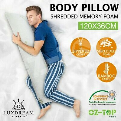 Body Pillow Long Full Memory Foam Maternity Pregnancy Nursing Support Bamboo