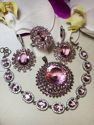 Sterling Silver.925 Pink Kunzite And CZ Jewelry Set