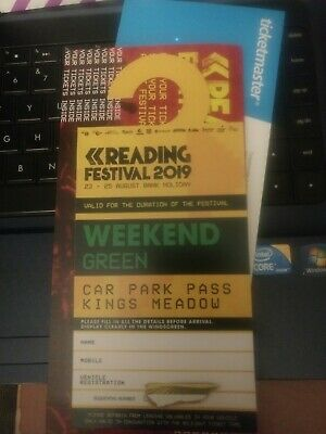 Reading Festival Green Car Park parking ticket / pass only, whole weekend 2019