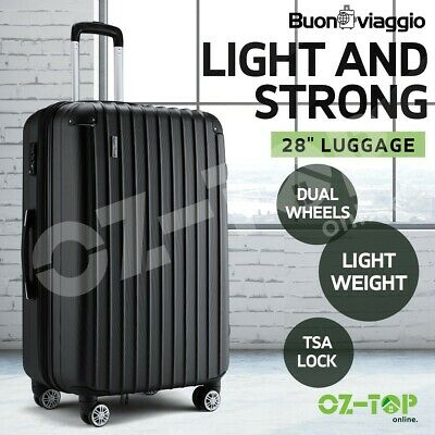 "28"" Luggage Suitcase Travel TSA Hard Case Organiser Trolley Lightweight Black"