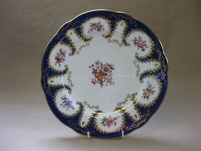 Antique Coalport Porcelain Cabinet Plate for Harrods ~Floral, Cobalt Blue & Gilt