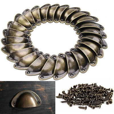 24Pcs Retro Vintage Shell Cupped Cup Pull Wardrobe Drawer Cupboard Knobs Handler
