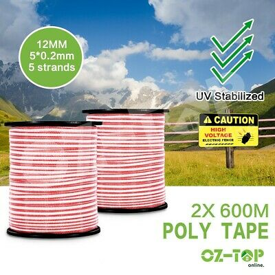 1200M Roll Polytape Energiser Insulator Electric Fence Poly Tape Stainless Steel