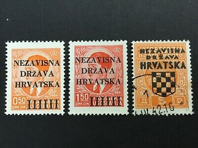 old stamps CROATIA  x 3 optd