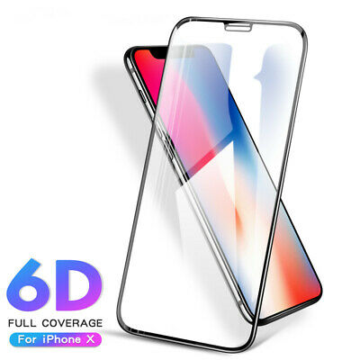 [2Pack] 6D Tempered Glass Full Coverage Screen Protector Film For iPhone XS 9H