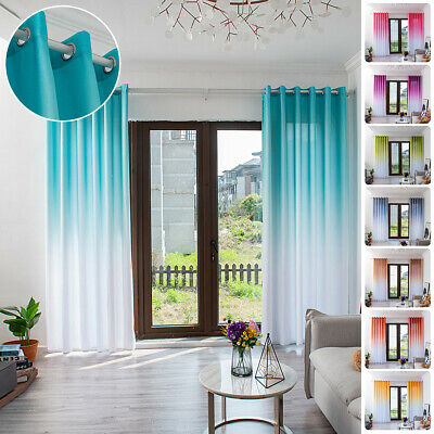 Eyelet Ring Top Simple Solid Color Gradient Curtain Panel Net Voile Curtains UK