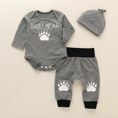 3PCS Newborn Baby Boy Top Romper Pants Leggings Hat Casual Outfit Clothes Set