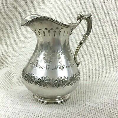 Antique Victorian Creamer Jug Silver Plated Greek Revival Decorative Engraving