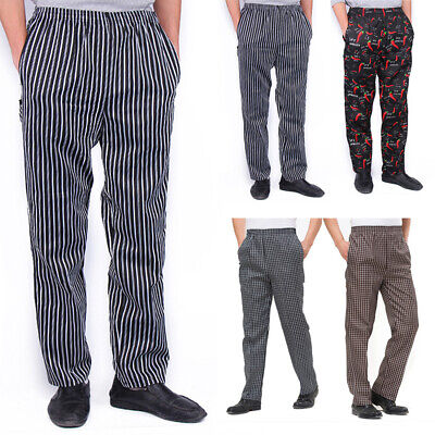 Hot Chef Pants Staff Hotel Restaurant Elastic Breathable Cook Working Trousers