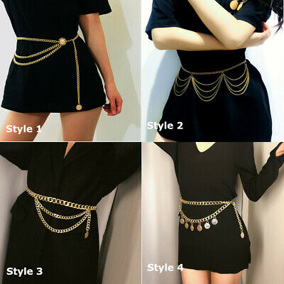 Waist Chain Belt Chunky Gold Chain Coin PUNK Silver Adjustable Belt Bloggers FAV