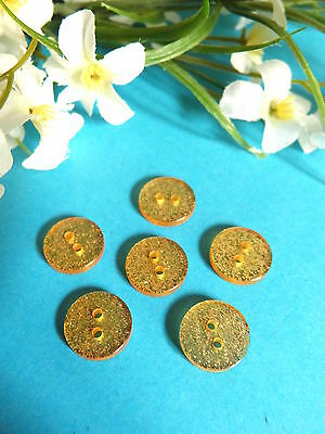"380B/Delightful Small Buttons "" Glitter' Gold "" Bel Effect! Set of 6 Buttons"