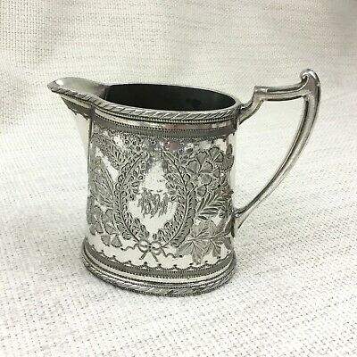 1881 Antique Silver Plated Creamer Jug English Victorian Aesthetic Engraving
